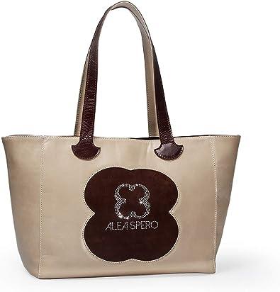 Alea Spero, Bolso mujer de piel natural, Almati Strass, Fabricado en España (Beige): Amazon.es: Zapatos y complementos