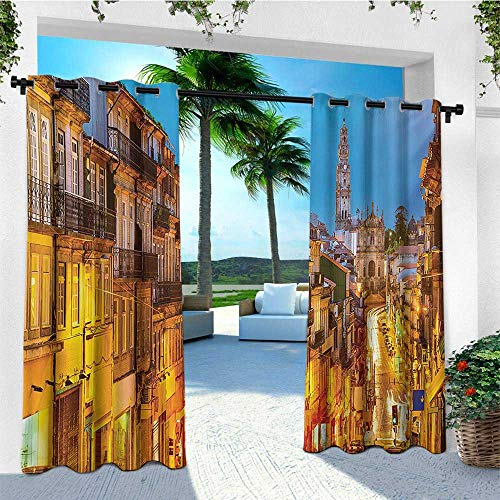 (leinuoyi European, Outdoor Curtain Set of 2 Panels, Cityscape Toward Old Buildings in Porto Mediterranean Town Streets Scenic Image, Fashions Drape W120 x L96 Inch Multicolor)