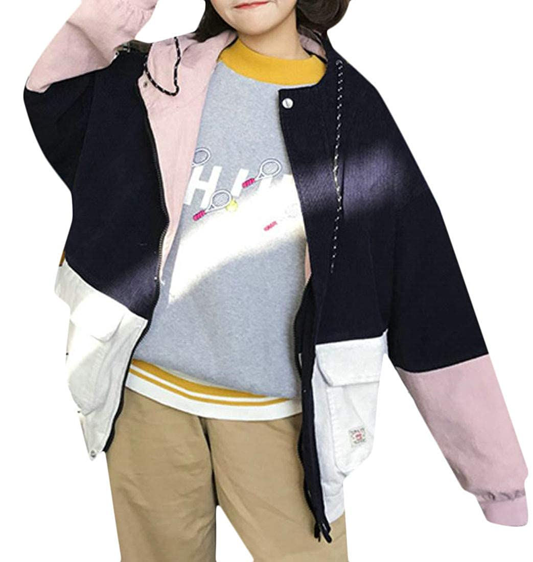 Etecredpow Womens Hooded Loose Fit Coat Color Block Baseball Corduroy Casual Jacket