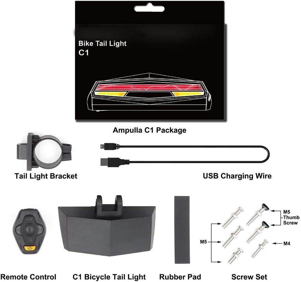 HEREB Accessoires Velo T/él/écommande V/élo Feu arri/ère LED USB Rechargeable Turning Lights Ground Lane Alert /Étanche S/écurit/é Avertissement Lumi/ère