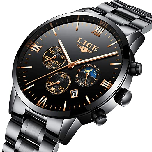 LIGE Marca Hombres Reloj De Acero Inoxidable Impermeable Deporte Reloj De Cuarzo Analógico Hombre Moda Fase Lunar Negro Reloj Clásico: Amazon.es: Relojes
