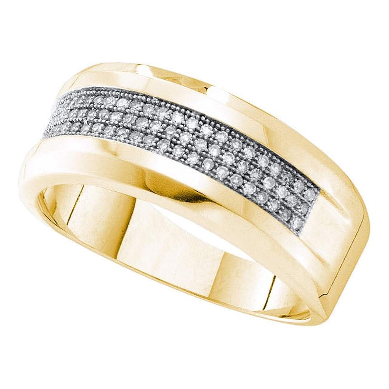 10kt Yellow Gold Mens Round Pave-set Diamond Wedding Band Ring 1/4 Cttw