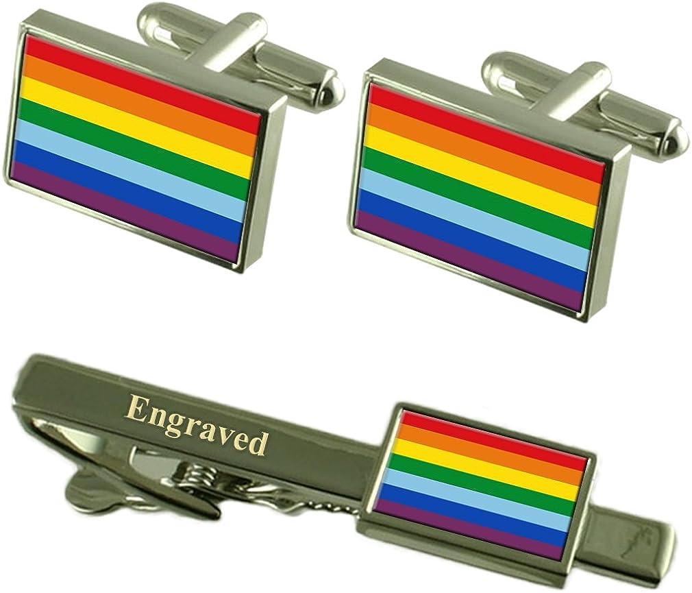Select Gifts Cusco City Peru Flag Cufflinks Engraved Tie Clip Set