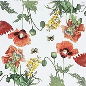 """Printed Poppies Paper Napkins, Tea Party Shower Luncheon Serviettes, 20 Count 13"""" X 13"""","""