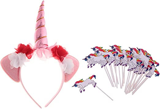 F Fityle Diadema De Cuerno De Unicornio + 24x Cupcake Sticks ...