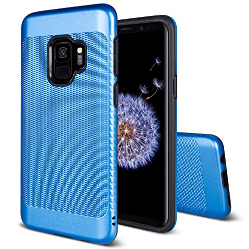Galaxy S9 Case with Lanyard Hole and Non-slip and Fingerprint-free,Asmart TPU & PC Hybrid Dual Layer Armor Phone Case Cover for Samsung Galaxy S9 G960 (Blue)