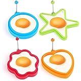 Facetoworld 4 piezas de silicona huevo frito anillos, corazón, estrella, círculo, flor en forma de huevo cocinar panqueque molde con mango ajustable perfecto para panqueques, huevos de tortilla