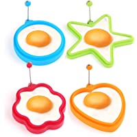 EKKONG 4 Pcs Silicone Fried Egg Rings, Heart, Star, Circle, Flower Shaped Egg Cooking Pancake Mould with Adjustable Handle Perfect for Pancakes, Omelettes &Eggs