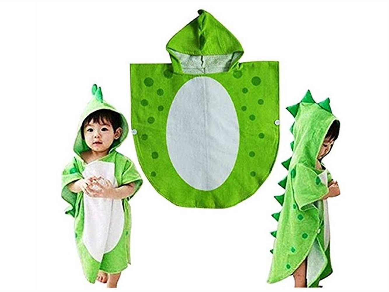 Wesource Activates Children Dinosaur Cartoon Animal Pattern Hooded Robe Bath Towel -Size Approx 55x115cm(Green)