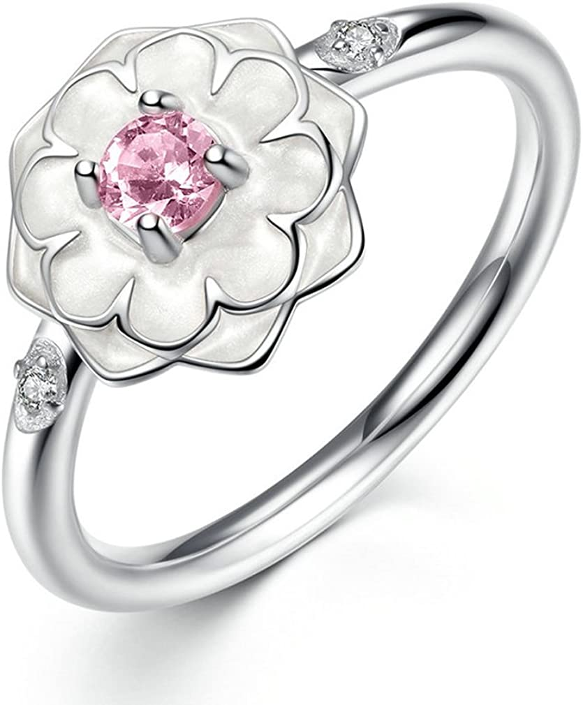 The Kiss Blooming Dahlia 925 Sterling Silver Stackable Ring Enamel /& Blush Pink CZ