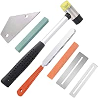 TOOGOO Guitar Luthier Tool Kit Include Fret Rubber Hammer Guitar Fret Crowning File Fret Rocker Leveling Fingerboard Guards Protectors and Grinding Stone