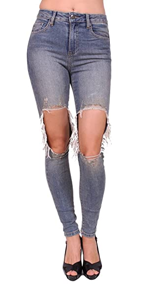attractive style fresh styles delicate colors Cello Jeans Women Knee Cut Out High Waist Skinny Jeans at ...
