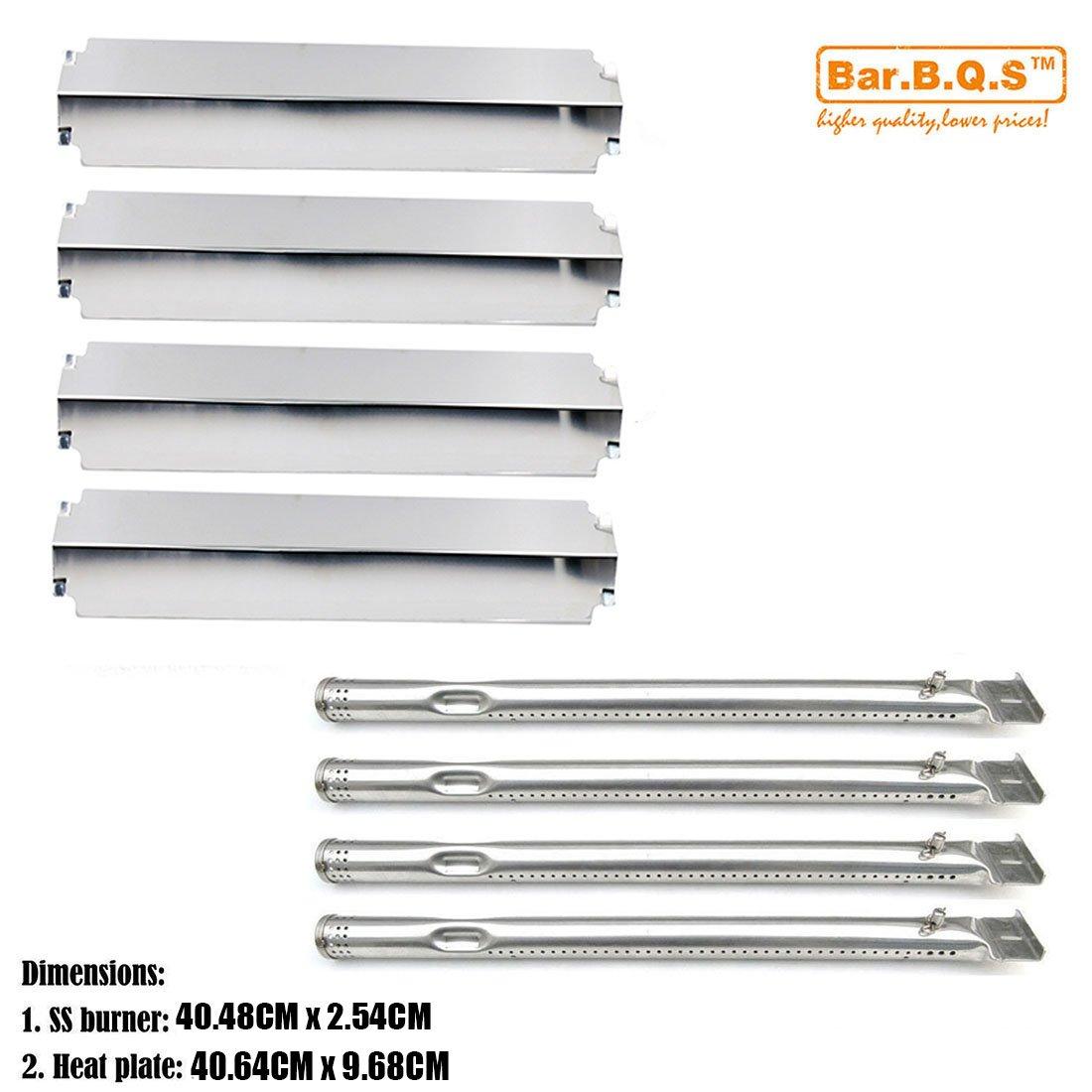 Bar.b.q.s Kit de réparation de gril Remplacement brûleur et plaque en acier inoxydable de plaque de chaleur, bouclier Remplacement pour Charbroil 463247310, 463257010 Série commerciale 4 brûleur gaz Grill