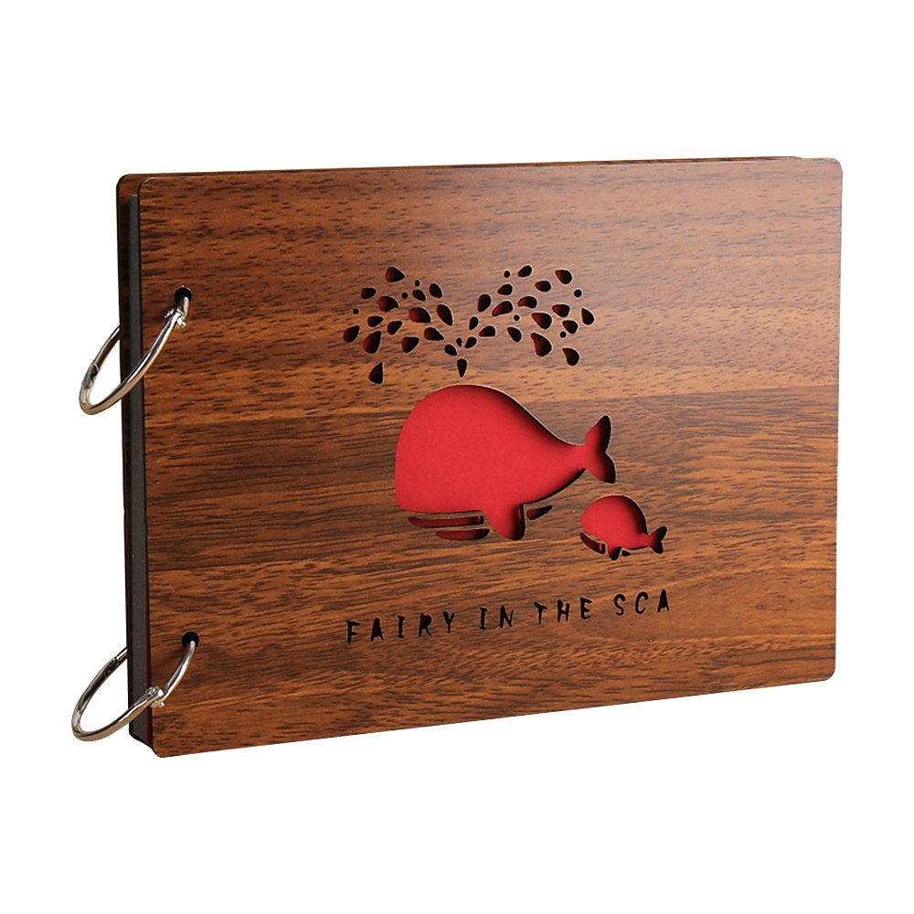 Zhi Jin Vintage Wood DIY Self Adhesive Photo Album Picture Anniversary Scrapbook Albums Storage Memory Book Gift, Whale