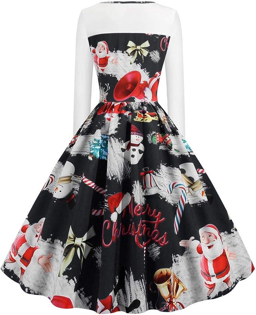 iNoDoZ Womens Vintage Christmas Printed Dress Ladies Elegant Long Sleeves Party Dress Xmas Dress