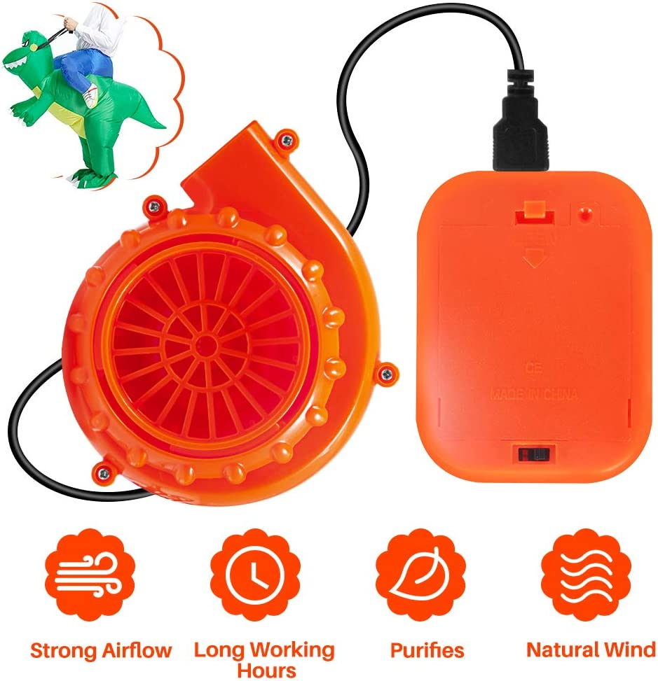 T-Rex Original Fan Mini Fan Blower for Inflatable Costume Blow Up Costume Fan Replacement Powered by USB Cable or 6V Battery