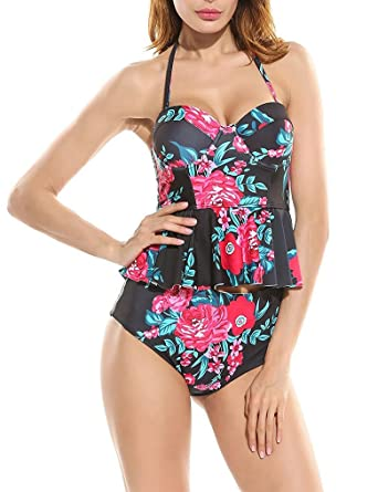 28b21ef5d3 Amazon.com  Women Sexy Strapless Two Piece Retro Bikini Push up Floral  Peplum Padded Swimsuit  Clothing