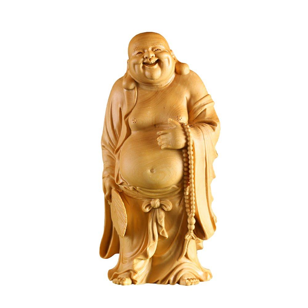 Suicazon [御金品] 高品質 ツゲの木彫り 仏像 弥勒菩薩 開運 厄除け 家を守る 立像 18cm B07DFKC3WK18cm