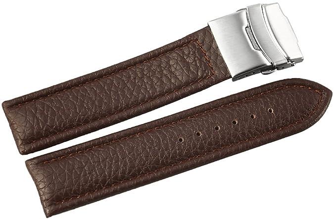 Pulsera de cuero de la correa pulsera braun22 mm marrón soldadura 816270700122: Amazon.es: Relojes