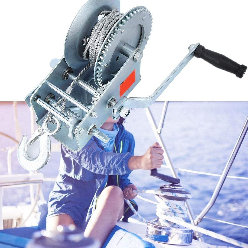 treuil r/ésistant de treuil de main de vitesse de la manivelle 10m de double de 3500lbs pour la remorque de bateau dATV Treuil de main de bateau de Suuonee