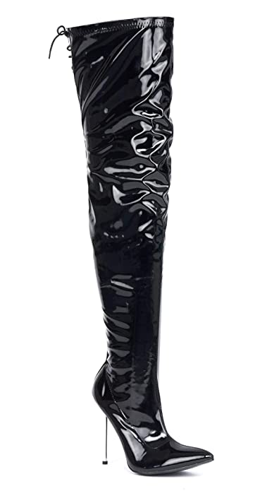 9d32d62954b MENS BLACK OVER THE KNEE THIGH HIGH SEXY STILETTO HEEL FETISH KINKY BOOTS  SIZE 9 10