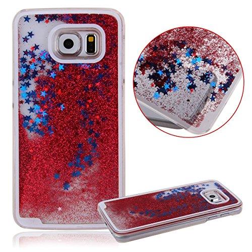 Ebestsale(TM) Glittery Quicksand Hard Plasitc Case for Samsung Galaxy S6, Red