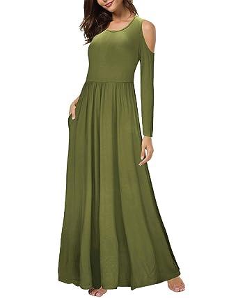 d0ba4ece52e3 KILIG Women Cold Shoulder Long Sleeve Loose Plain Maxi Dresses Casual Long  Dresses with Pockets(