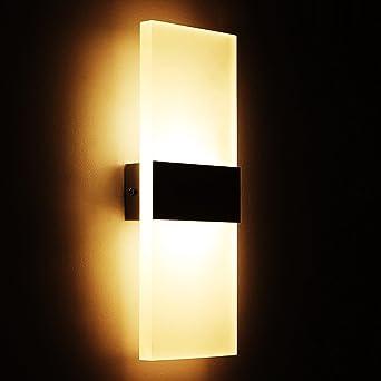Tobbiheim LED Wandlampe 6W Acryl Modern Design Wandleuchte Innenbeleuchtung  Für Schlafzimmer, Wohnzimmer, Balkon,