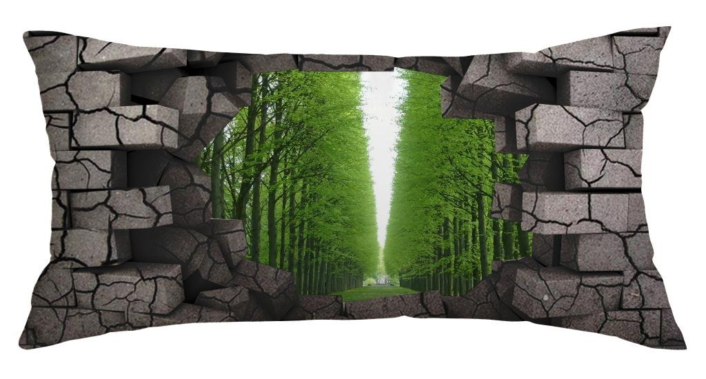 Green Forest Behind The Brick Wall Customized Home Decoration Polyester Rectangle Pillow Cover Case 16 X 32 Inch