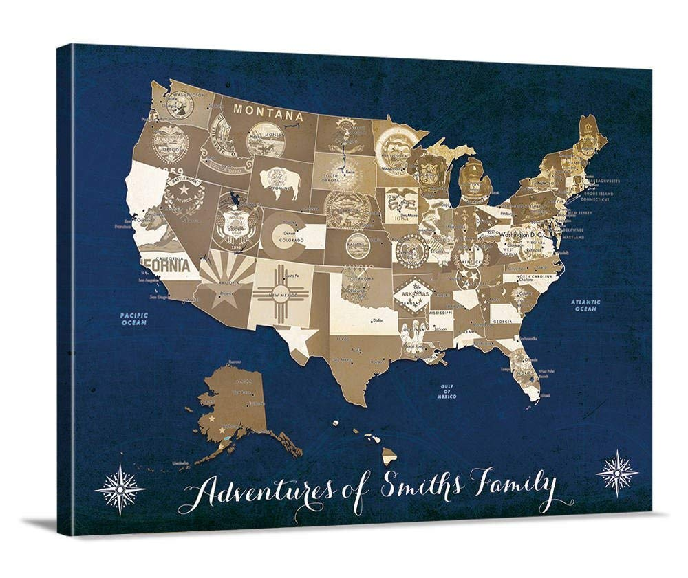 USA America Industrial Maps Flags MULTI CANVAS WALL ART Picture Print
