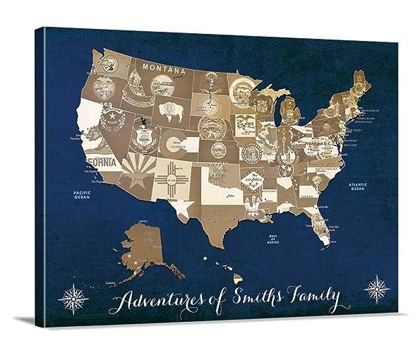Amazoncom State Of Flag Us Map Push Pin Wall Art Canvas Print - Custom-us-map