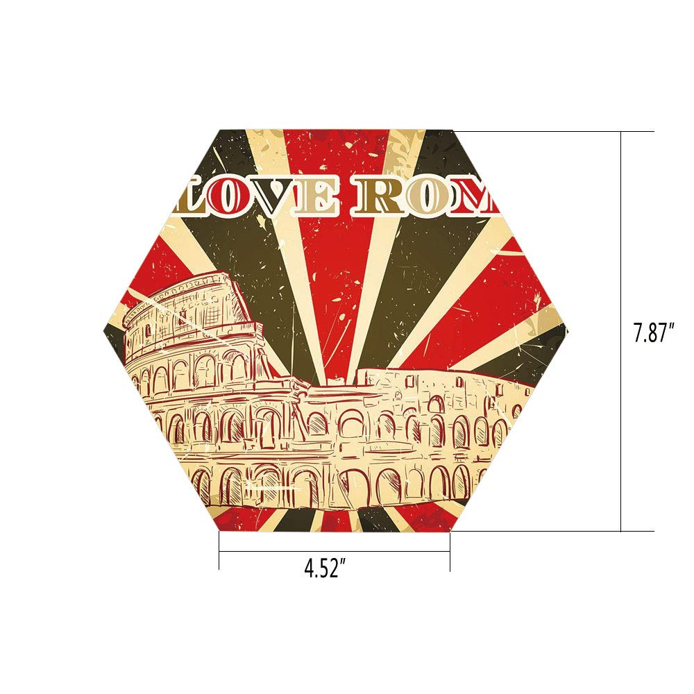 PTANGKK Hexagon Wall Sticker,Mural Decal,Quote Decor,I Love Rome Lettering with Circus Tent and Bold Stripes Ancient,Red Dark Green and White,for Home Decor 4.52x7.87 10 Pcs/Set