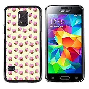 Design for Girls Plastic Cover Case FOR Samsung Galaxy S5 Mini, SM-G800 Muffin Cupcake Yellow Pink Pattern Cute OBBA