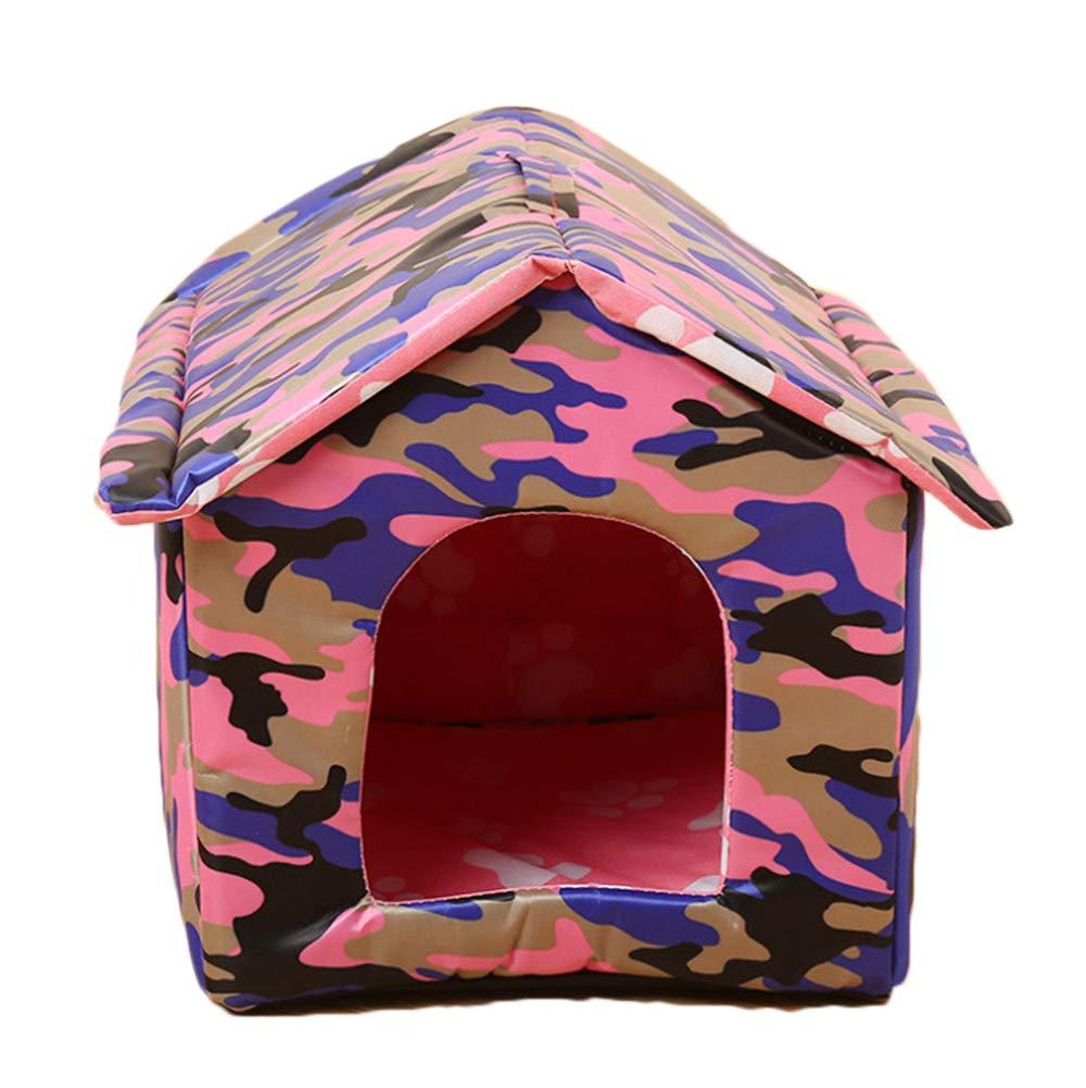 PengGengA Chien Chat Niche Toit Amovible Imperméable Intérieur Extérieur Animal De Compagnie Lit Maison Camouflage L