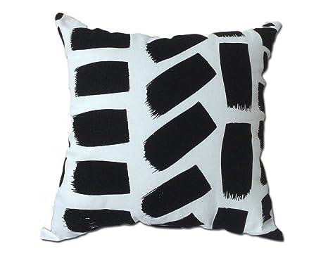 Meubletmoi Coussin Traces Peinture Noire Blanc   Décoration Salon Canapé  Chambre Lit   Collection Rectangle