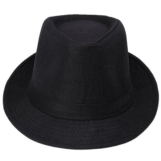 Amazon.com  JTC Jazz Fedora Hat Cap Turn-up Brimmed Cowboy Women Men ... c42e18a2f56