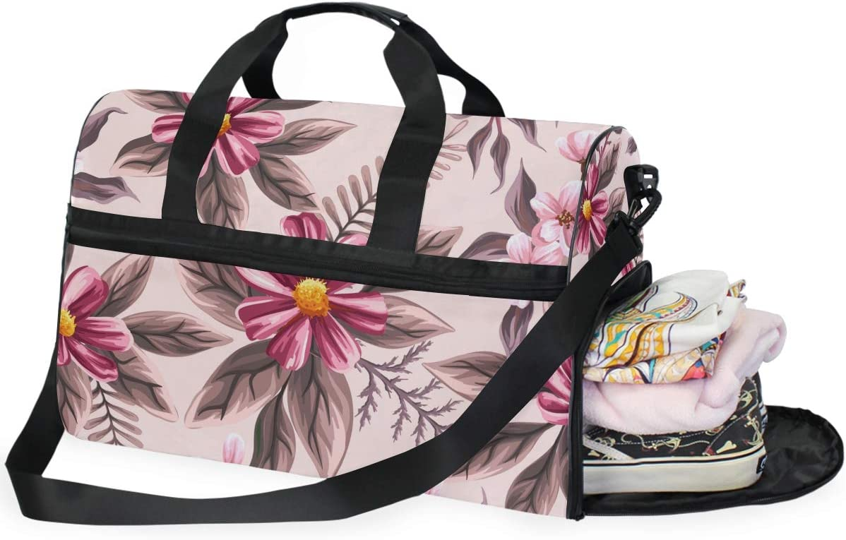 AHOMY Watercolor Flowers Tropical Plants Leaf Sports Gym Bag with Shoes Compartment Travel Duffel Bag