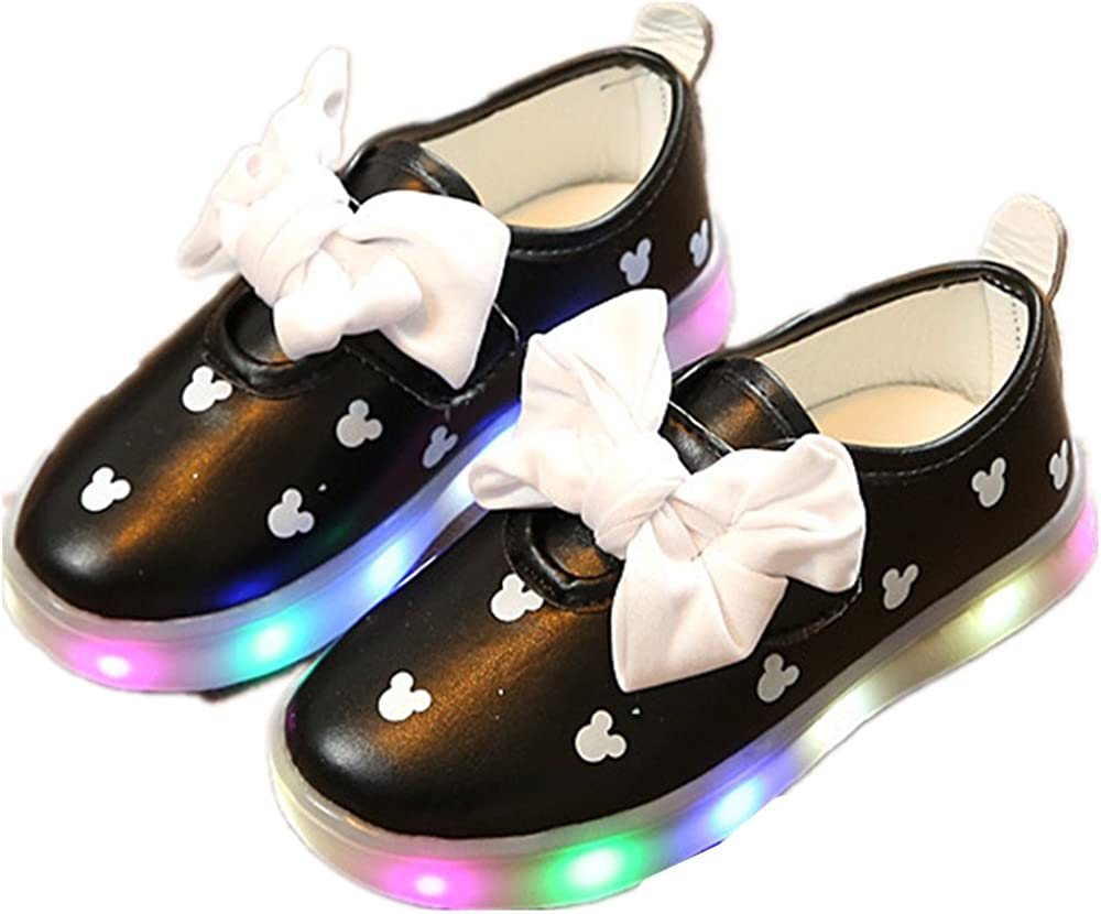 strengths Girls Led Light Up Shoes Jelly Bowknot Toddler Sandals Kids Black-30//12.5 M US Little Kid