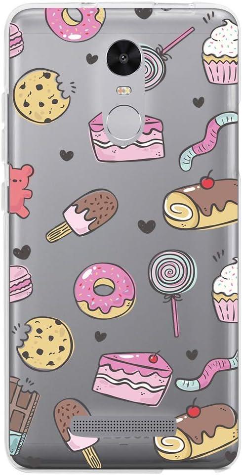 Funnytech® Funda Silicona para Xiaomi Redmi Note 3 [Carcasa Flexible Resistente Ligera Diseños] Diseño Dulces patrón Transparente