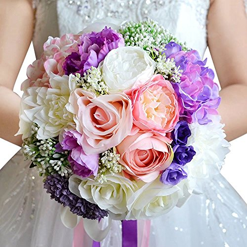Moleya 9 Inch Handmade Vintage Artificial Silk Roses Wedding Bouquet for Bridal Bridesmaid Holding Flower,Pink