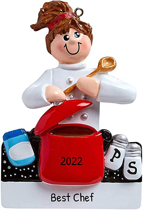 Gifts For Chef Christmas 2021 Amazon Com Personalized Loves To Cook Christmas Tree Ornament 2021 Brunette Female Chef Chief Cooker Best Restaurant New Mom Sous Cuisine Profession Culinary Pan Kitchen Gourmet Gift Year Free Customization Home