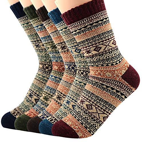 (Zando Mens Winter Soft Thick Knit Vintage Casual Crew Socks Wool Warm Crew Socks 5 Pairs Chic Diamond Shoe: 6-11)