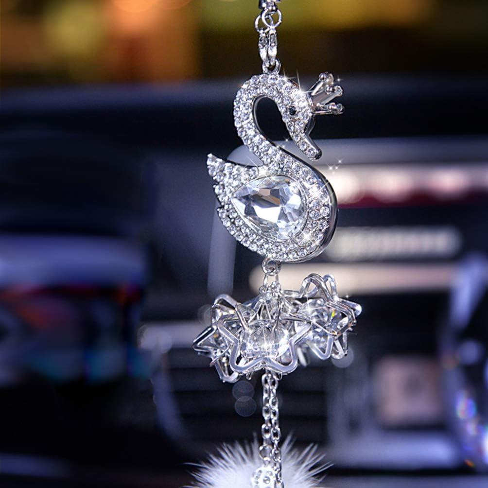 Wakauto Ciondolo in Cristallo Auto Cigno Strass Ciondolo Auto Pendente Appeso Ornamento Accessori Interni