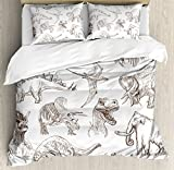 Jurassic Queen Size Duvet Cover Set by Ambesonne, Collection of Various Dinosaurs Illustrations Gigantic Skeleton Biology Historic, Decorative 3 Piece Bedding Set with 2 Pillow Shams, Gold White
