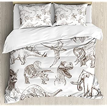 Jurassic Queen Size Duvet Cover Set by Ambesonne, Collection of Various Dinosaurs Illustrations Gigantic Skeleton