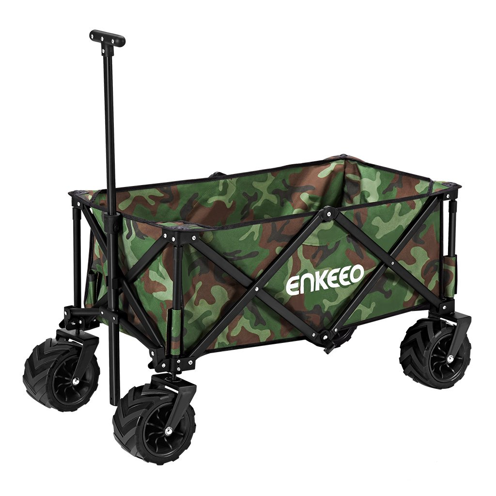 ENKEEO Foldable Utility Wagon Collapsible Sports Outdoor Cart with Large Capacity and Tilting Handle for Camping Beach Sporting Events Concerts, Camo