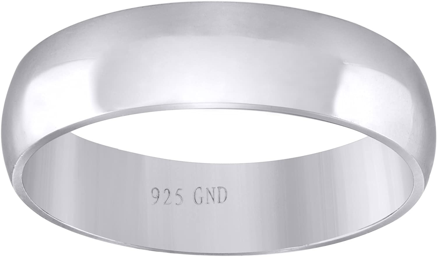 Jawa Jewelers Sterling Silver Unisex 6mm-SZ9 Dome Comfort-fit Wedding Band Ring-SLV-88287