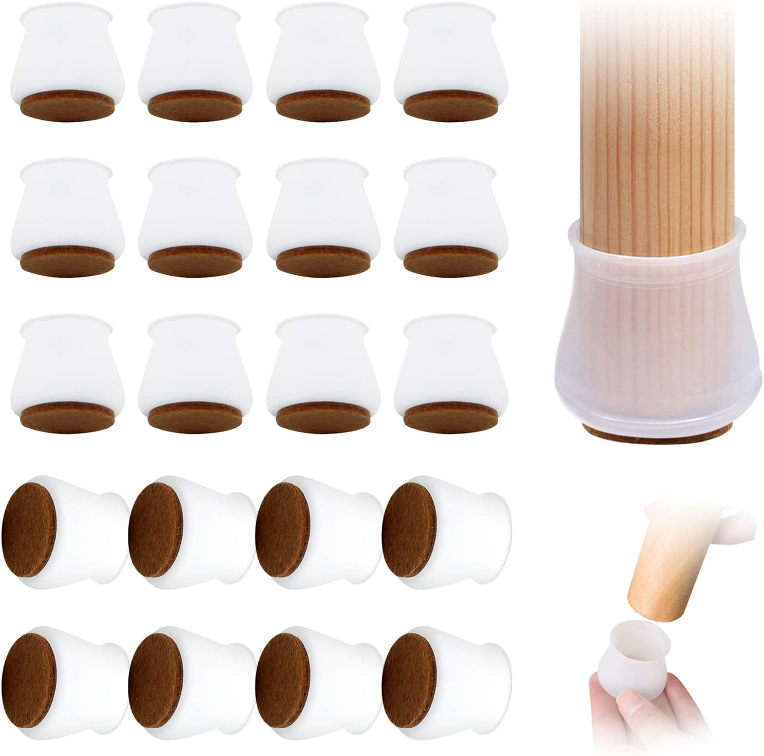 Upgrade 40pcs Furniture Silicon Protection Cover with Felt Pad, Chair Legs Hardwood Floor Protectors Caps, Chair Leg caps with Felt Furniture Pads for Round or Square, Prevent Scratches and Noise.