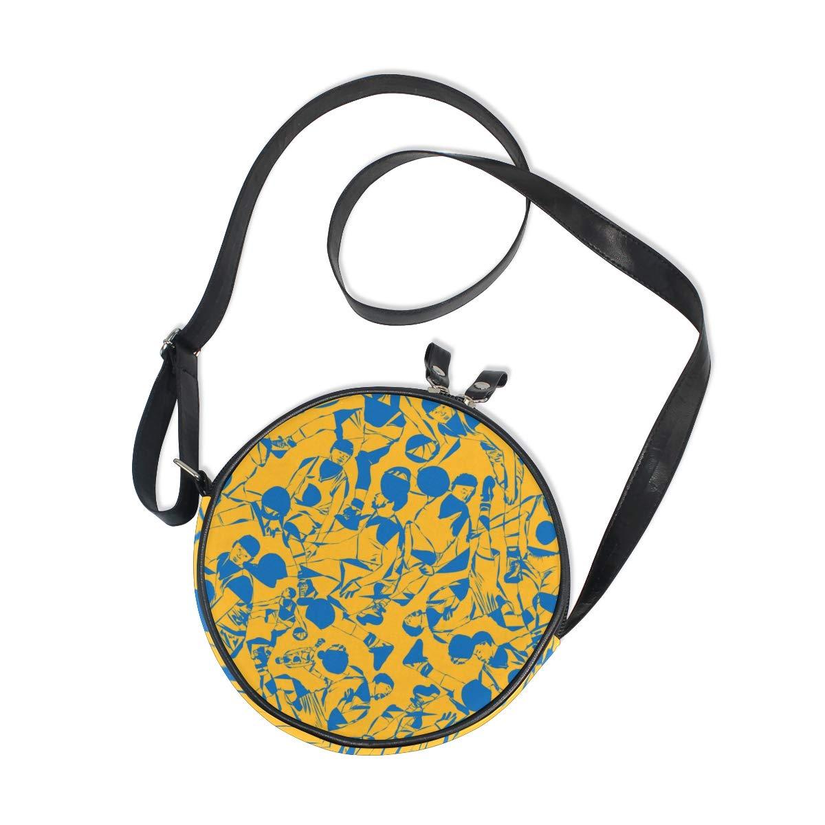 KEAKIA LORVIES Playing Basketball Pattern Round Crossbody Bag Shoulder Sling Bag Handbag Purse Satchel Shoulder Bag for Kids Women