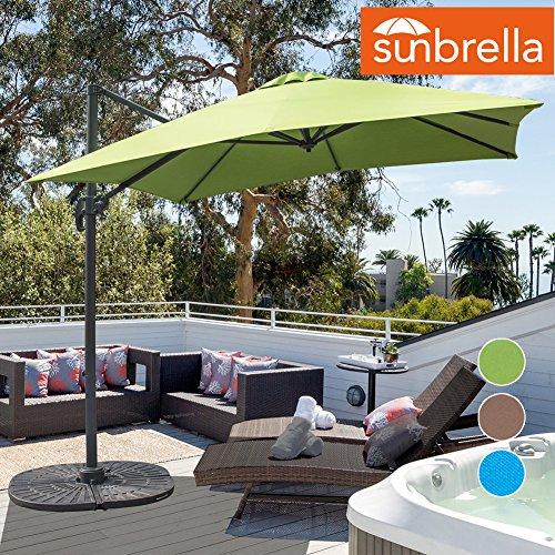 Sundale Outdoor 8.2ft Square Sunbrella Fabric Offset Hanging Umbrella Market Patio Umbrella Aluminum Cantilever Pole with Crank Lift, Corss Frame, 360°Rotation, for Garden, Deck, Backyard (Macaw) (Umbrellas Fabric Sunbrella Patio)
